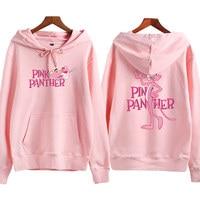 Adomoe S 2XL Winter Kawaii Cotton Fleece Hoodies Women Teens Girl Autumn Korea BF Harajuku Pink Panther Cartoon Printed Pullover