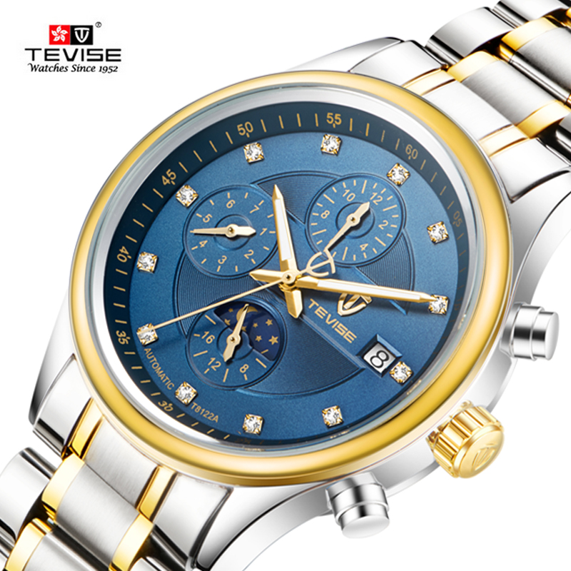 Hot TEVISE Brand  Men Mechanical Watch Fashion Waterproof Sport  Automatic Fashion luxury Gold Watches Relogio masculino 2017New tevise men watch luxury gold full steel automatic mechanical waterproof watches with date mens wristwatch relogio masculino