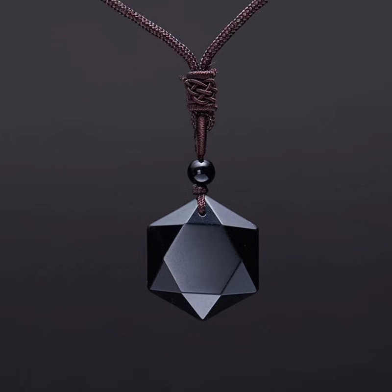 Black Obsidian Six Stars Lucky Amulet  Love Natural Stone Pendant  Necklace  for Women Men  Love Crystal Pendulum Jewelry 2019