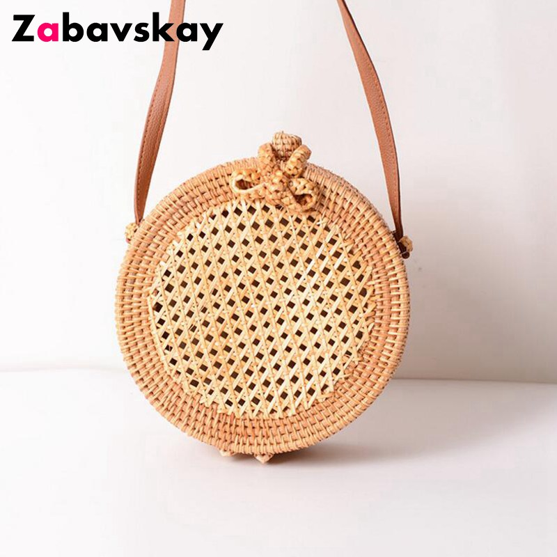 Summer Bohemia Style Beach Circle Bag Hand Woven Bag Round Rattan Straw Bag Straw Crossbody Shouder Bags Leather Strap DJZ514