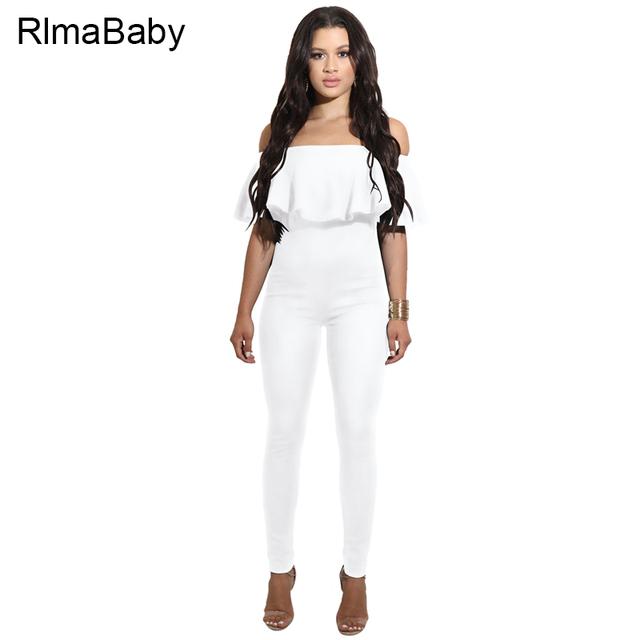 38839fafcf1f Rlmababy ruffles off shoulder white long rompers womens jumpsuit sexy  backless red black bodycon combinaison femme