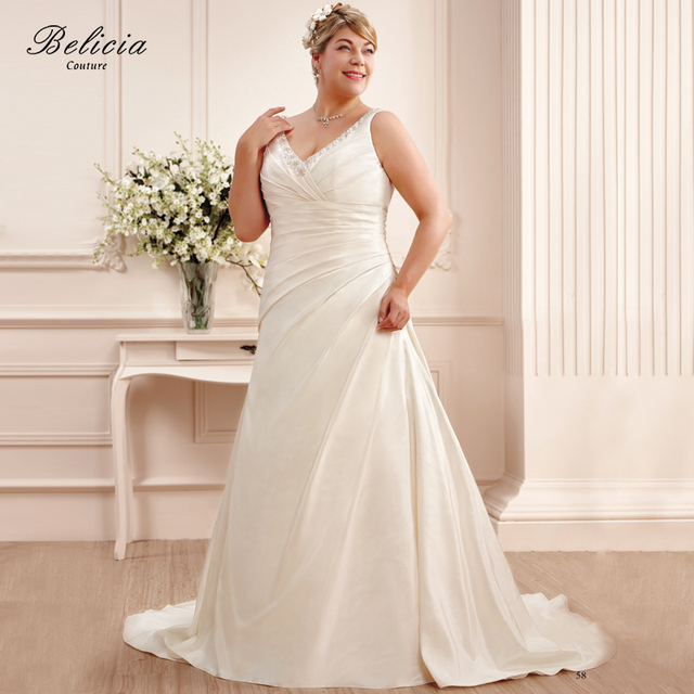 Belicia Couture Women V Neck Bridal Gown Wedding Dresses Plus Size ...