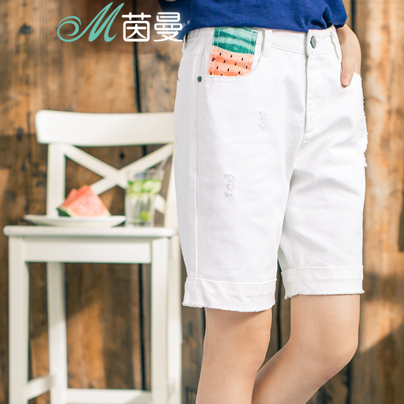 INMAN 2018 New Products Women White Denim Five Cents Trousers Straight Pants