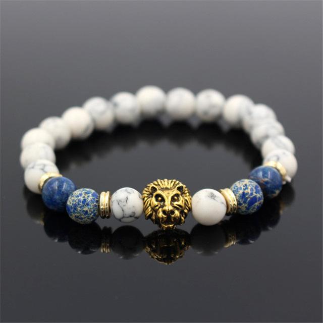 Lion White Natural Stone Bracelet