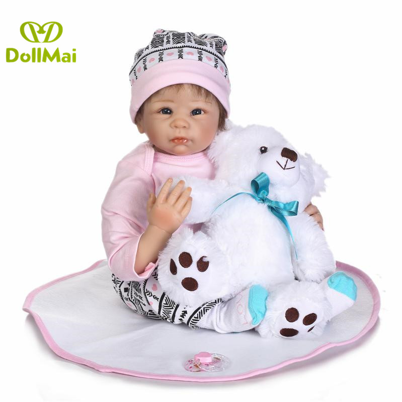 Bebe real reborn 2255cm silicone reborn baby dolls toys for children gift with white bear plush bonecas rebornBebe real reborn 2255cm silicone reborn baby dolls toys for children gift with white bear plush bonecas reborn