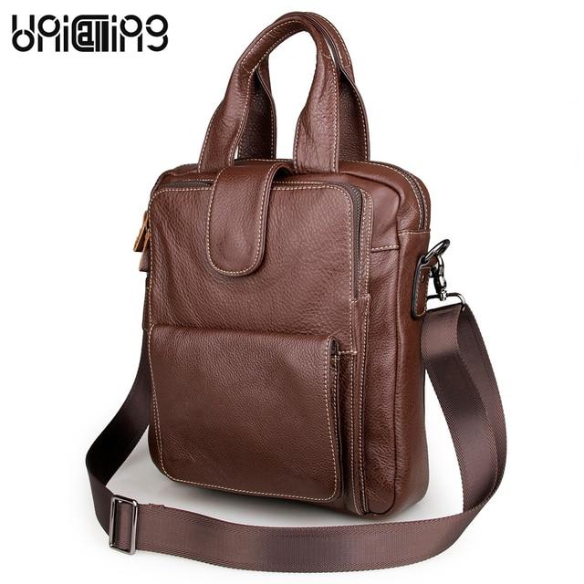 UniCalling fashion men leather shoulder bag quality genuine leather men crossbody bag male handbag can hold iPad/A4 Magazine