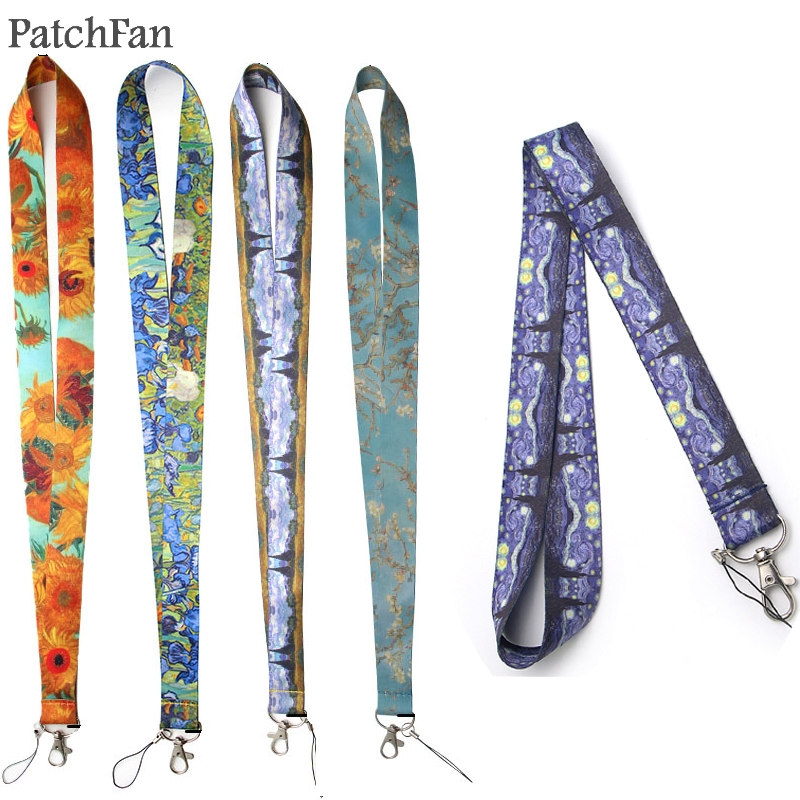 5 Styles Patchfan Van Gogh Painting Starry Night Sunflowers Lanyard For Key Phones Keychains ID Name Tag Badge Holders A0246