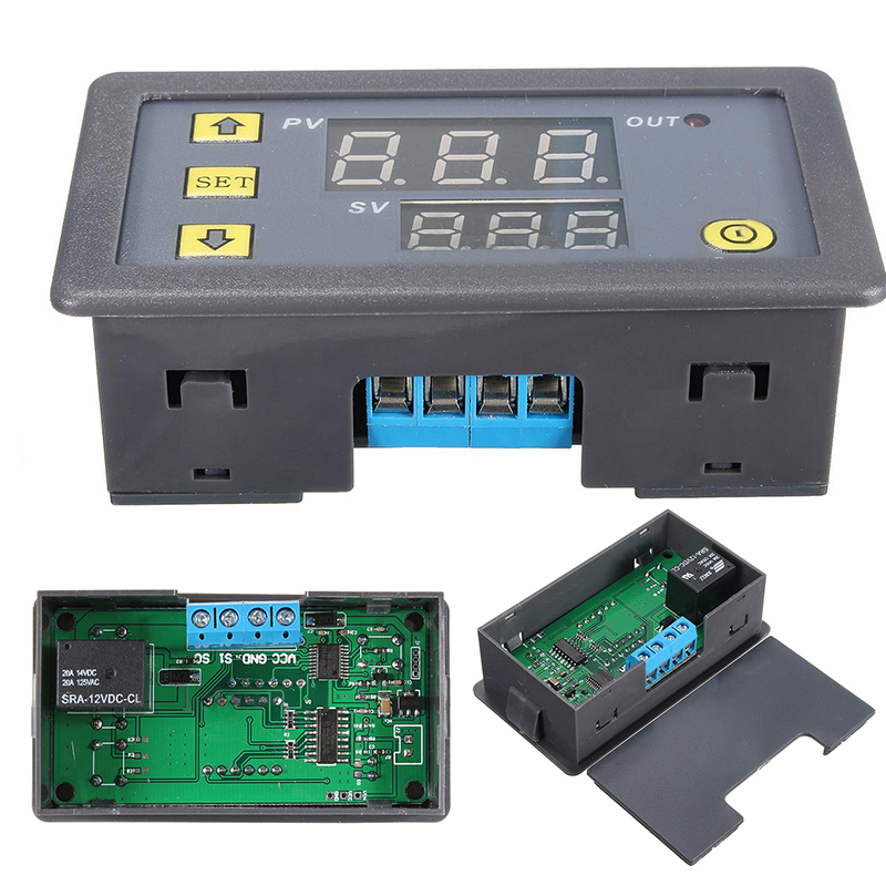 12V Timing Delay Cycle Timing Timer Relay Module Digital LED Dual Display Cycle 0-999 Hours Mayitr Electrical Supplies 12v led display digital programmable timer timing relay switch module stable performance self lock board