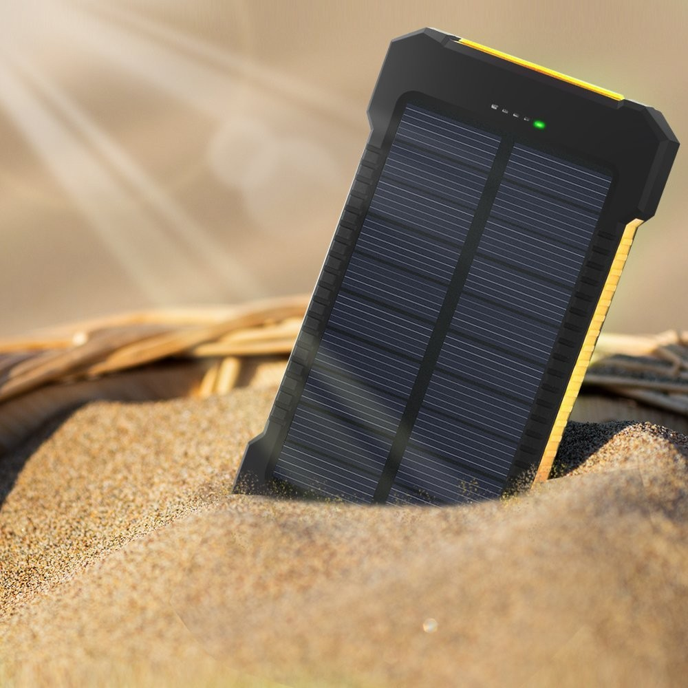 10pcs 10000mah Waterproof Solar Powerbank with LED external battery cargador solar Portable Charger for iphone5 6s xiaomi mi5