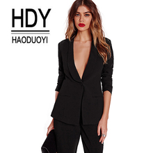 Haoduoyi Black Office pants Suit set Female Casual Slim Eleg