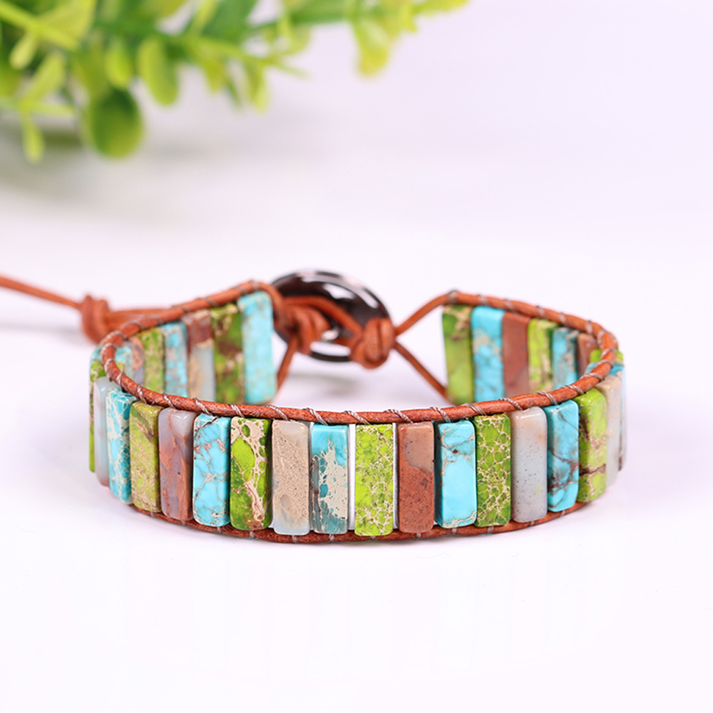 2019 New Natural Stone Beaded Energy Bracelet Leather Wrap Bracelet Meditation Creative Gifts Healing Jewelry Dropshippng