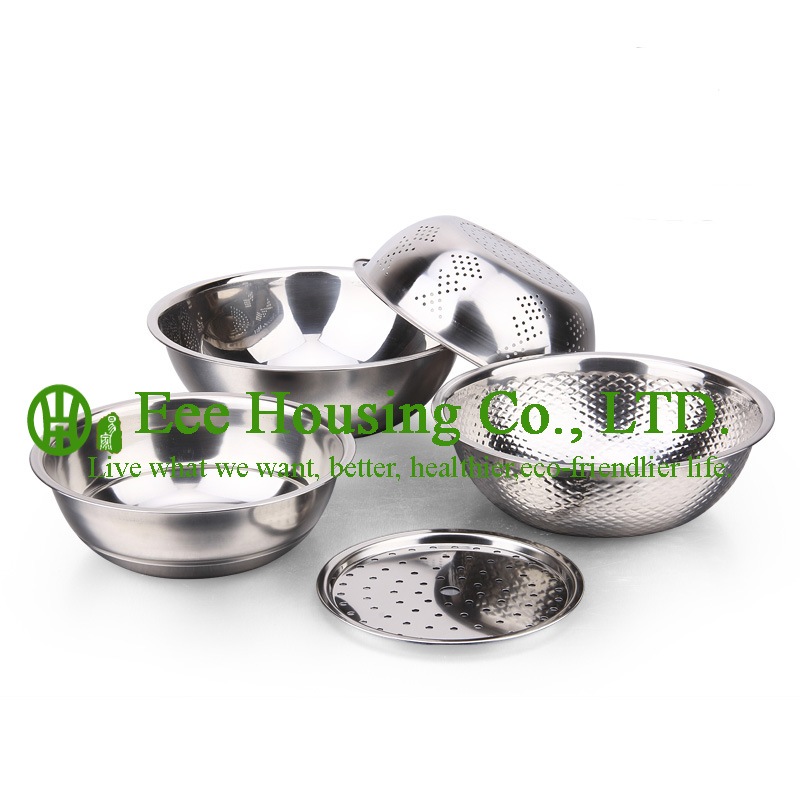 Stainless Steel Cook Cookware Kitchenware Set Free Shipping Rice Washing Sieve,wash Vegetable Plate,water Separate Pan Kitchen