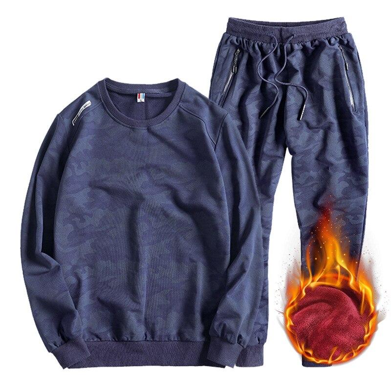 Rouge bleu grande taille L 7xl 8xl hommes décontracté laine Liner Hoodies lâche grande taille gros o cou à manches longues sweat shirt ensembles deux pièces - 2