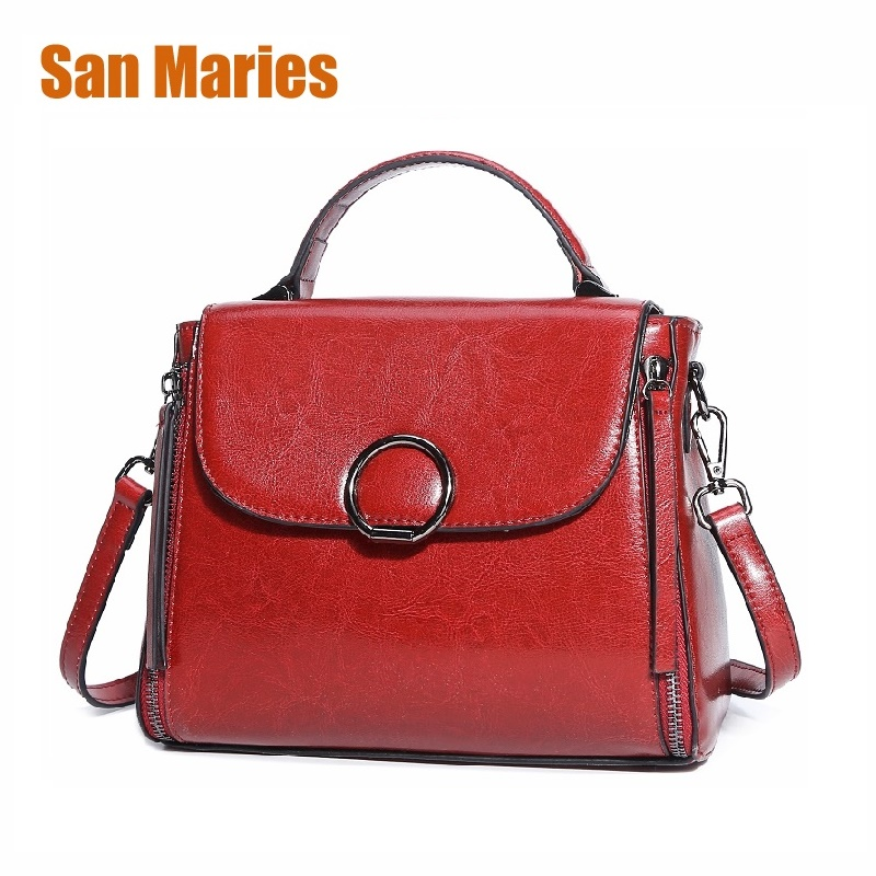 San Maries Brand New 2018 Oil Wax Leather Casual Crossbody Bags Women Handbag Totes Fashion Solid Bag Single Femal BagsSan Maries Brand New 2018 Oil Wax Leather Casual Crossbody Bags Women Handbag Totes Fashion Solid Bag Single Femal Bags