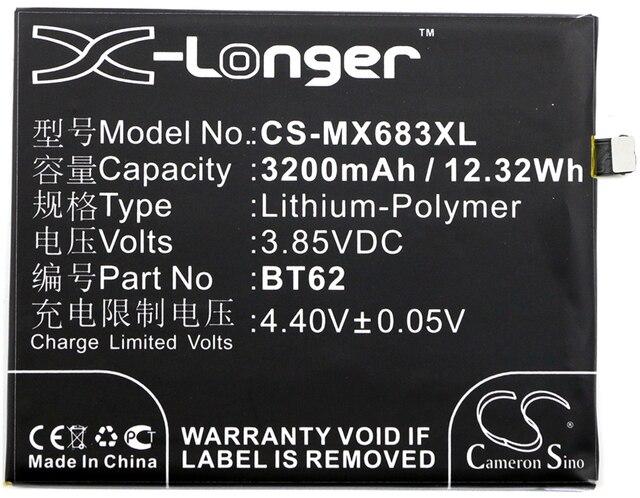 Cameron Sino High Quality 3200mAh Battery BT62 for MeiZu M3X, M3X Dual SIM, M3X Dual SIM TD-LTE, M682Q, For Meilan X