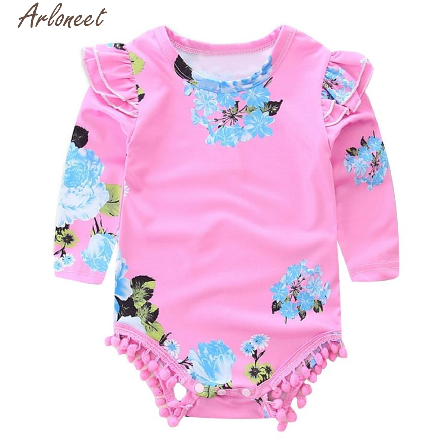ARLONEET Newborn Infant Baby Girl Long Sleeve Floral Pom-pom Romper Jumpsuit Clothes P30 Dec29