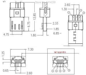 Мини-разъем USB Micro 5-контактный разъем, разъем SMD, 10 шт.