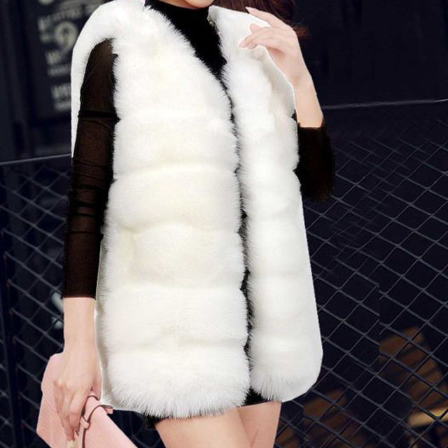 Autumn Winter Faux Fur Coat Women  Thick Warm Fur Elegant Sleeveless Long Vest Woman Casual Slim Luxury Thick Warm Fur Jacket