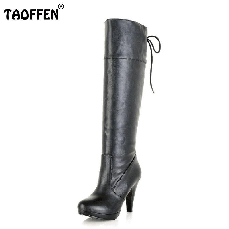 TAOFFEN Size 34-43 Women High Heel Over Knee Boots Ladies Riding Long Snow Boot Warm Winter Botas Heels Footwear Shoes P8028