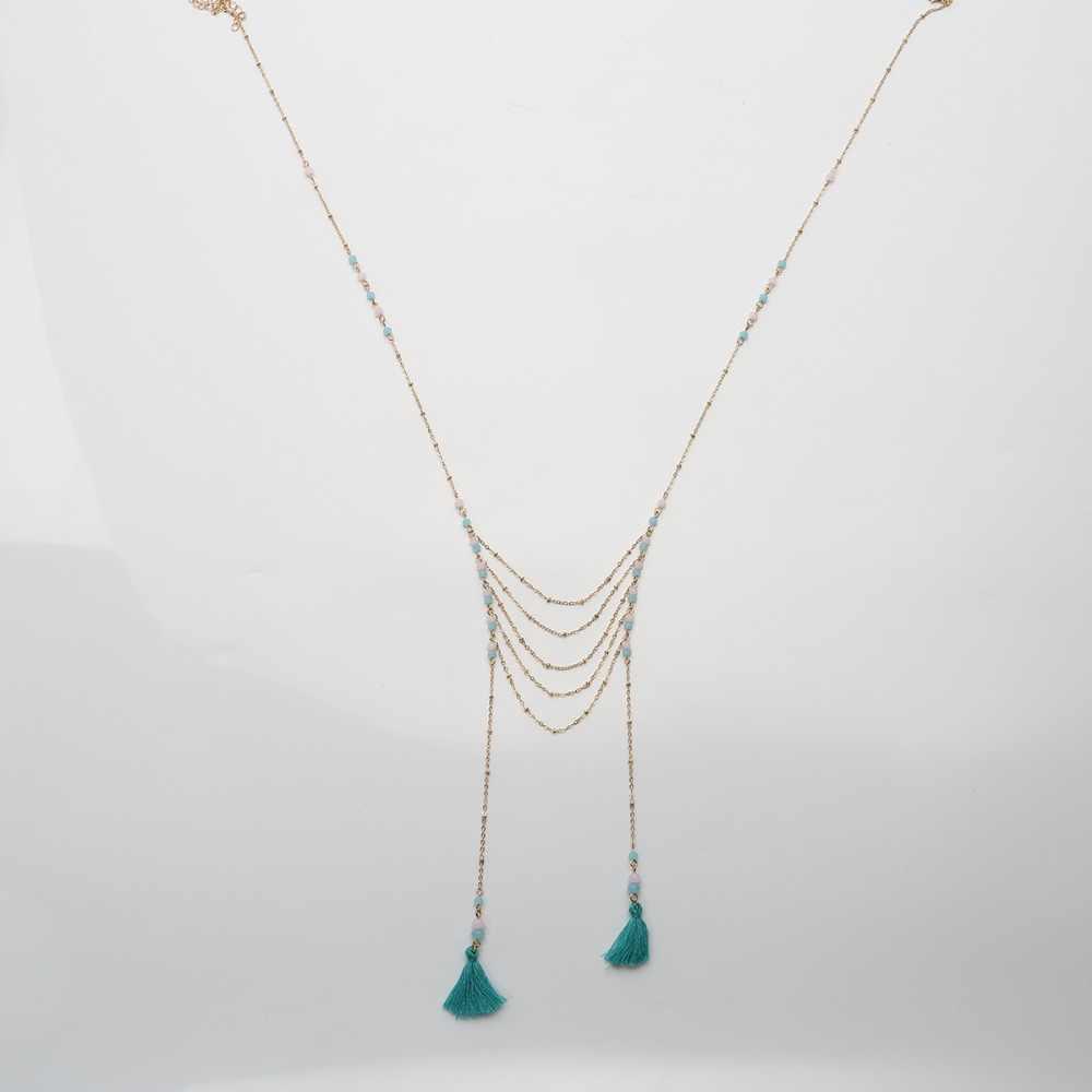 Boho רב שכבתי אופנה בציר חרוזים ארוך קולר השרשרת רזה שרשרת נשים קטן כותנה ציצית תליון תכשיטים