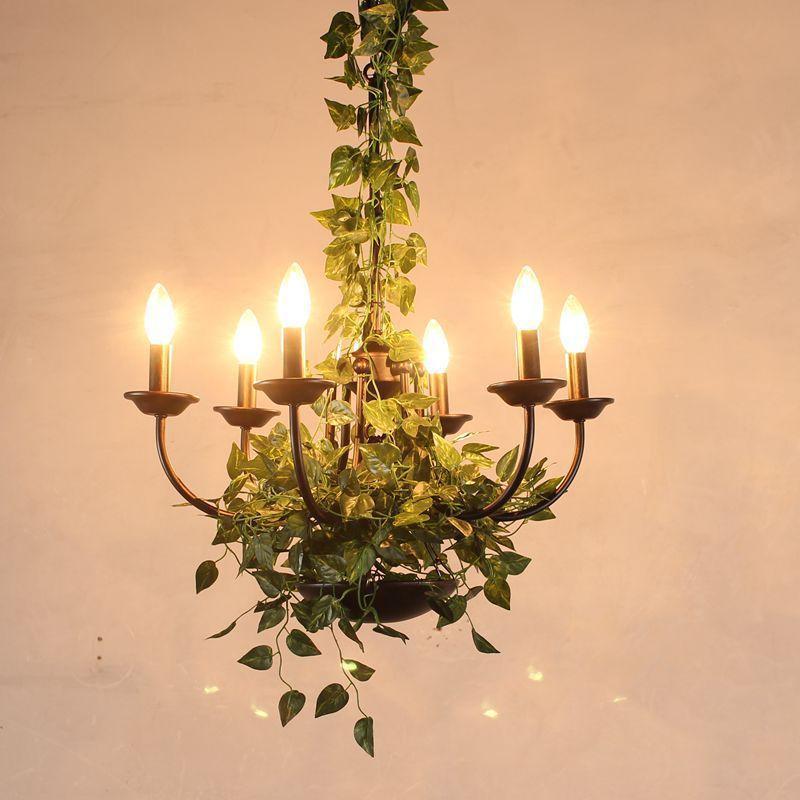 Lampes modernes simples en bois E27 de pendentif LED de support, 3 sortes lampes accrochantes créatives de Restaurant de Pot de plante de fer forgé