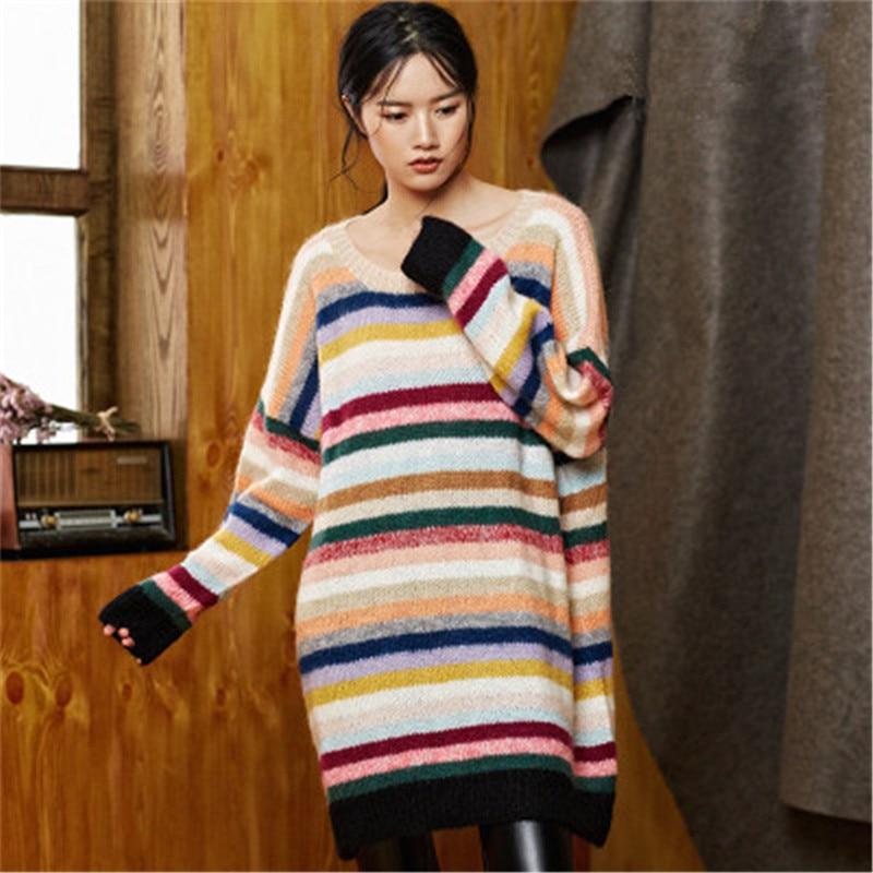 100% шерстяной, ручной работы Oneck тонкий вязаный Женский Уличная Радуга Полосатый H прямой пуловер свитер один и более размер