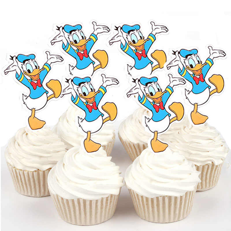 50pcs Dancing Donald Daisy Duck Sophia Winnie the pooh Paper Cupcake topper for cake decoration birthday wedding party suppliers