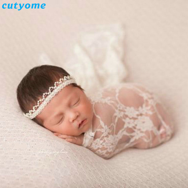 Cutyome embroidery floral lace baby photography props newborn photography wraps handmade lace scarf baby photo props