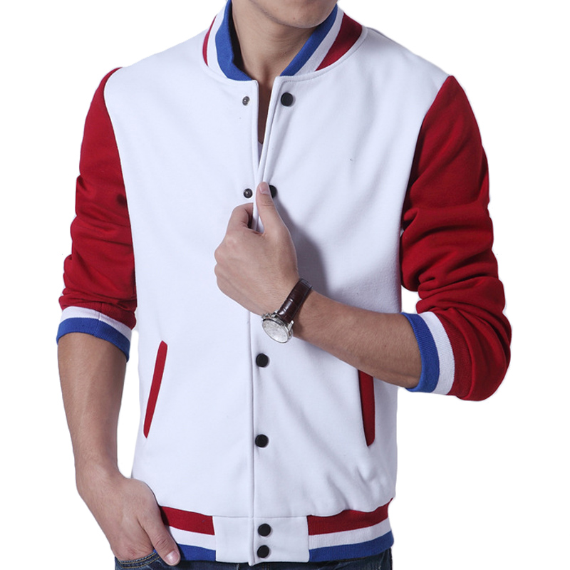 Baseball Jacket Red And White Fit Jacket
