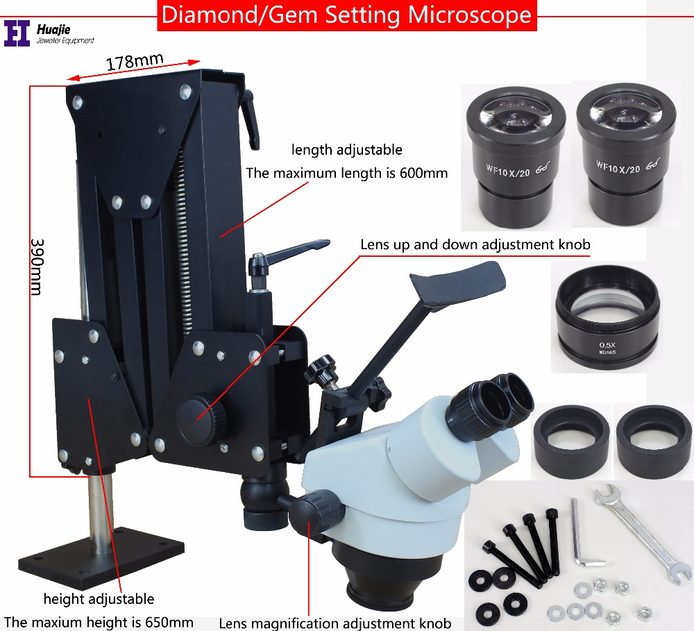 Jewelry Optical Tools Super Clear Microscope with Magnifier Stand Diamond Setting Microscope with LED Light Source