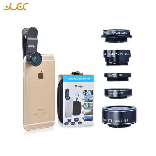 Akinger 5 in 1 HD Cell Phone Lens Kit for iPhone8/7/6 xiaomi note Samsung Galaxy S7/S7 Edge S6/S6 and Other Android Smartphones