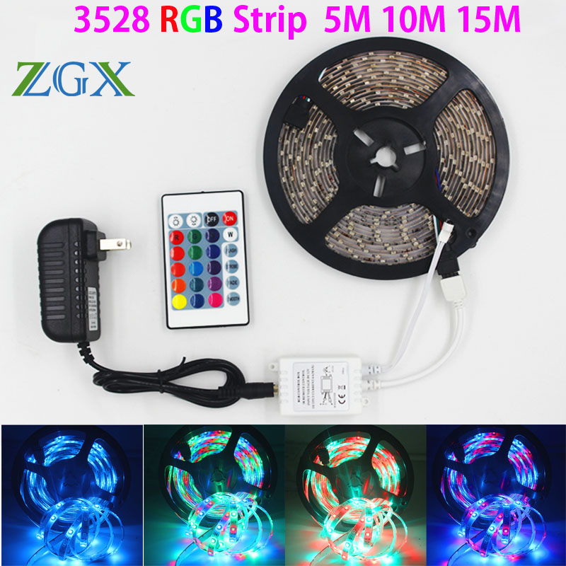 ZGX SMD 3528 5M 10M 15M 300led RGB led strip light Waterproof outdoor lighting Multicolor Tape Ribbon 24keys DC12V adapter set 10m 5m 3528 5050 rgb led strip light non waterproof led light 10m flexible rgb diode led tape set remote control power adapter