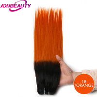 Addbeauty Straight Brazilian Virgin Hair Products Selected Raw Materials Human Hair Weave Bundles T1 Orange Color
