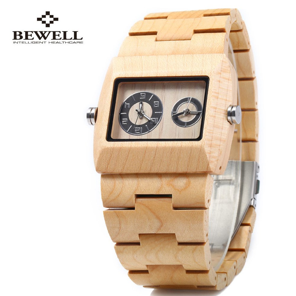 BEWELL Quartz Watch Men Wood Watches, Dual Time Zones Male Dress Watches, Elegant Fashion Waterproof Watches relogio masculino bewell natural wood watch men quartz watches dual time zone wooden wristwatch rectangle dial relogio led digital watch box 021c
