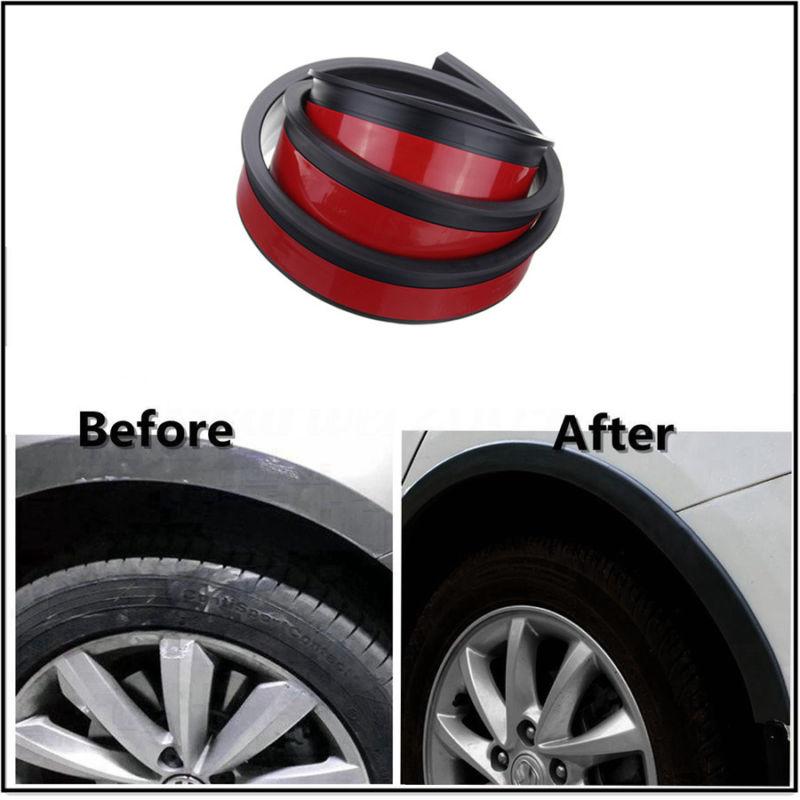 4PCSx 150cm Soft Car Fender Flare Extension Wheel Eyebrow Protector Strip Automobile Auto Wheel arch Trim Car Decorative Strip