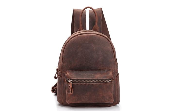 Vintage mini size women genuine leather cow skin soft backpack school bag