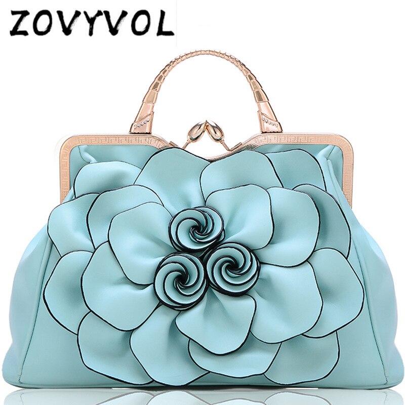 ZOVYVOL 3D 花高品質のレザートートバッグデザイナーの女性のハンドバッグ女性大ショルダーバッグメッセンジャーバッグ  グループ上の スーツケース & バッグ からの トップハンドルバッグ の中 1