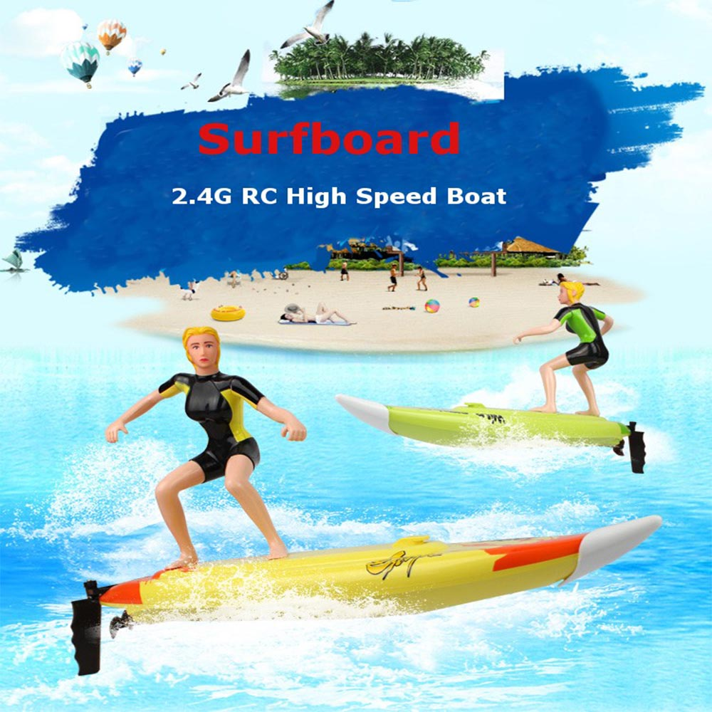 High Speed RC Surf Boat 2.4GHz 4 Channel Racing Remote Control Surfboard Boat Toys for Children