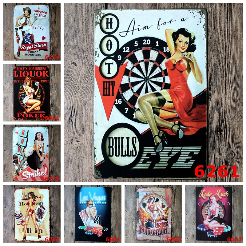 Welcome to Las Vegas With Sexy Lady Bowls Metal Signs For Bar Pub Coffee Casino Club Wall Art Decor Iron Painting Poster YN045|vegas sign|vegas postervega iron - AliExpress