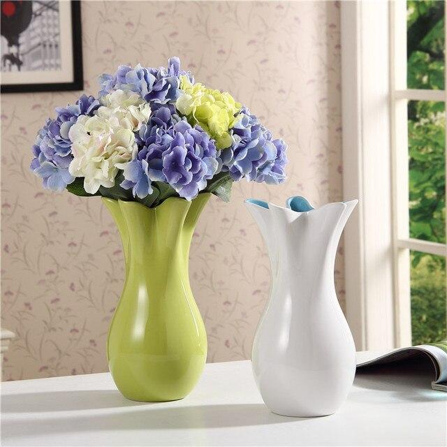 White/green Ceramic Vase Ornaments Home Furnishing Flower Decorations  Creative Fashion Livingroom/desk Decoration