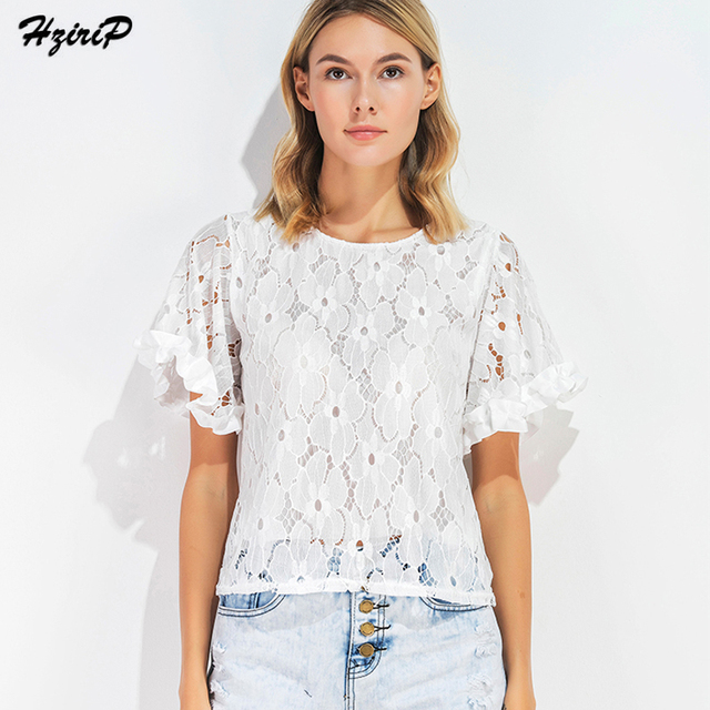 HziriP Women Summer White Lace T Shirts 2017 Fashion Trending Floral Batwing Sleeve Loose Tees Tops
