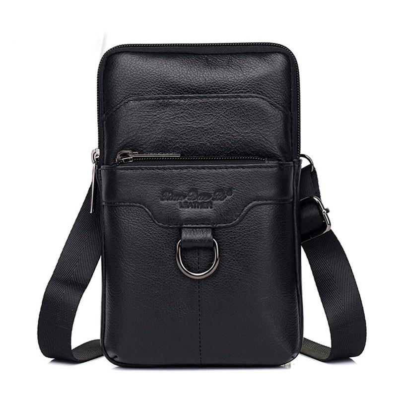 Genuine Leather Men Waist Hook Bags Purse Hip Bum Fashion Cowhide  Cell Phone Case Shoulder Cross Body Bag Fanny Belt Pack