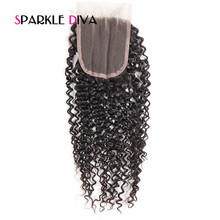 [SPARKLE DIVA HAIR] Three Part Brazilian Kinky Curly Lace Closure 4×4″ With Baby Hair 130% Density Remy Human Hair Free Shipping