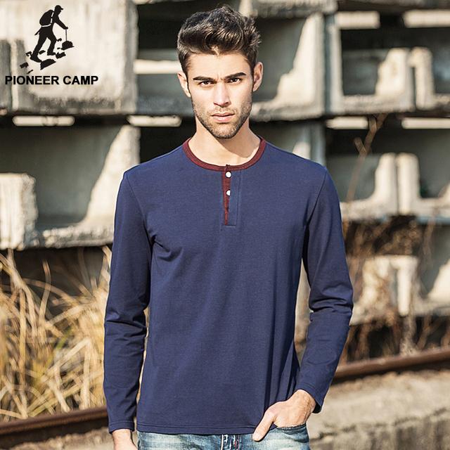 Pioneer camp. envío libre 2017 nuevos mens t shirt gimnasio algodón casual hombres clothing camiseta de manga larga de la venta caliente