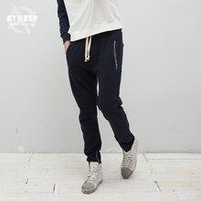 Athief Tide card Leisure underwear male Loose Cotton Harem pants American style street Side zipper Feet trousers summer