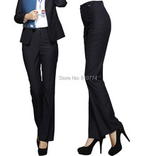 2018 high quality western-style trousers high waist straight bell-bottom women's pants suit plus size clothes