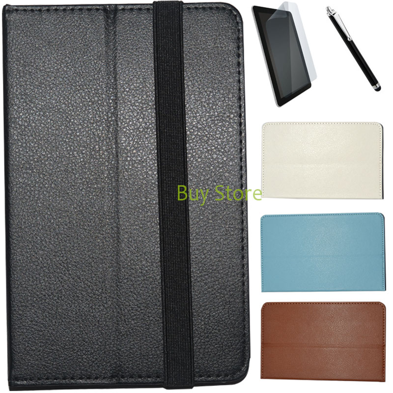 Rubber Band Pu Leather Folio Case Stand Cover for pocketbook Surfpad U7 + Screen Protector Film + Stylus Pen folio stand pu leather cover case for new pocketbook 614 624 626 screen protector
