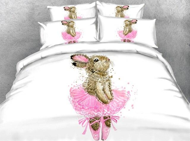 jf 135 princess girls rabbit ballet dancer print bedding sets king