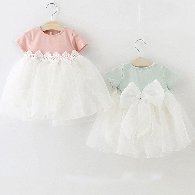 Pudcoco Prinzessin Baby Mädchen Kleid Party Geburtstag Kleid Spitze Floral Taufe Vestido Infantil Bogen Tüll Hochzeit Kleider Neugeborenen