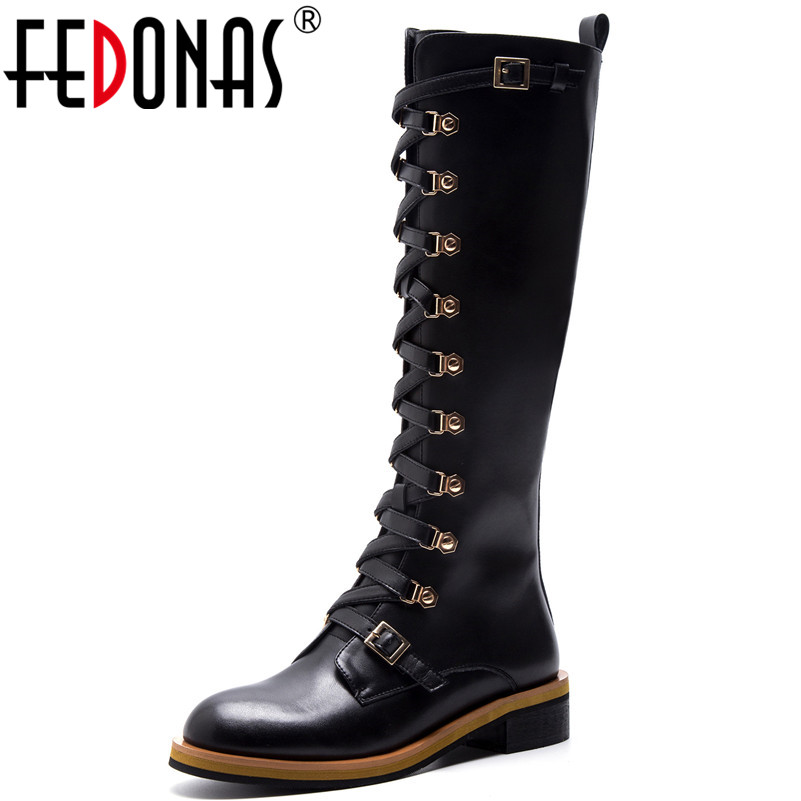 FEDONAS Fashion Women Knee High Boots High Heels Rivets Buckles Long Motorcycle Boots Female New Sexy